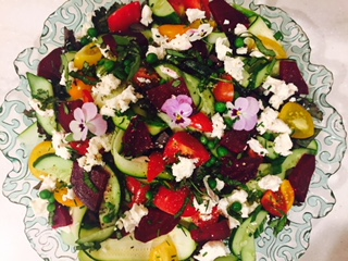 beet salad plate with goat cheese